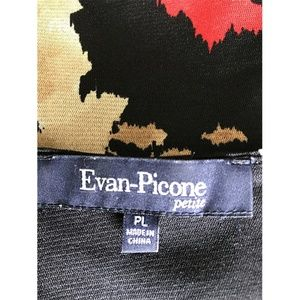 Evan Picone Tops - Evan Picone Wrap Floral Black Top Petite Sz PL